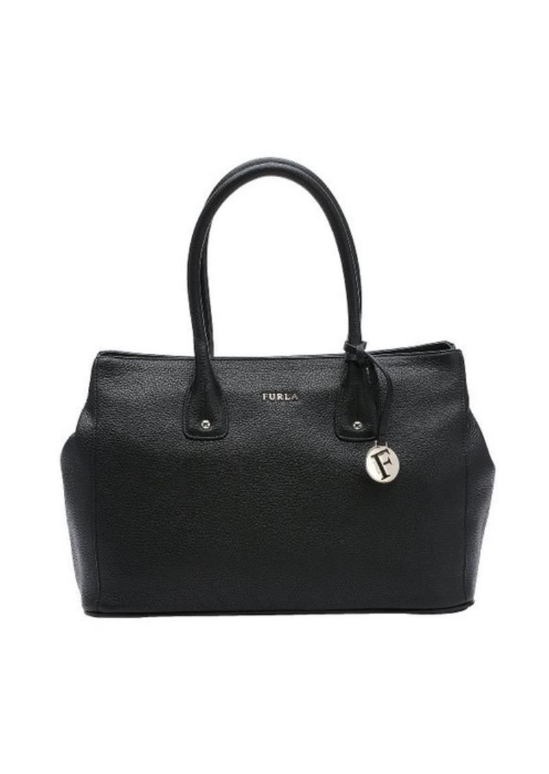 furla furla black leather medium 39 serena 39 tote bag handbags shop it to me. Black Bedroom Furniture Sets. Home Design Ideas