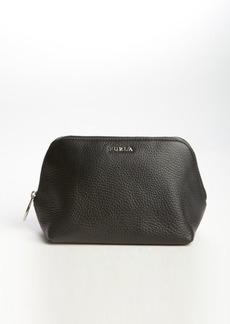 Furla black leather 'Pigalle M' zip top cosmetic case