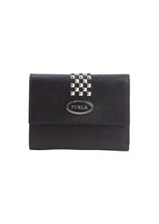 Furla black leather studded 'May' classic tri-fold wallet