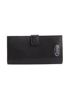 Furla black snap closure front flap continental wallet