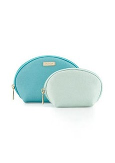Furla Classic Cosmetics Leather Two-Pouch Set, Laguna/Mint