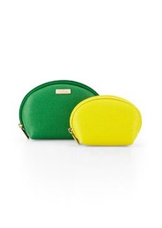 Furla Classic Cosmetics Two-Pouch Set, Emerald/Sunny