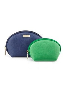 Furla Classic Cosmetics Two-Pouch Set, Navy/Emerald