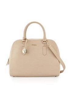Furla Elena Medium Leather Satchel Bag, Sand