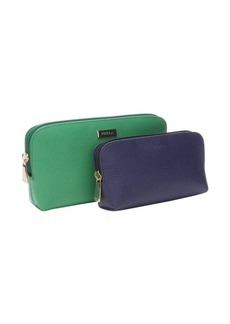 Furla emerald and navy leather ziparound 2-in-1 cosmetic case