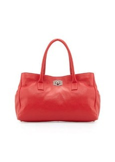 Furla Large Appa Pebbled Turn-Lock Tote Bag, Flame