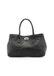 Furla Large Appa Pebbled Turn-Lock Tote Bag, Onyx