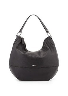 Furla Manola Leather Hobo Bag, Black Onyx
