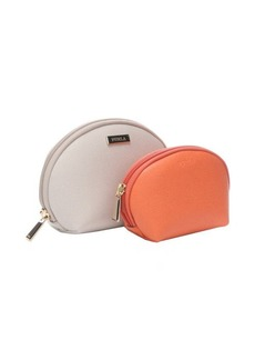 Furla marble and vitamin leather two in one cosmetic case