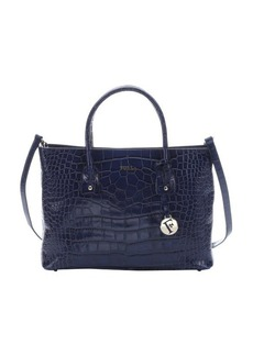 Furla navy croc embossed leather 'Josi' medium concertible tote bag