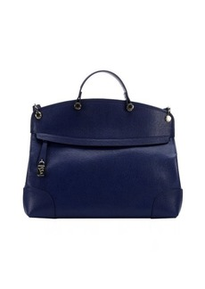Furla navy leather 'Piper' large top handle bag