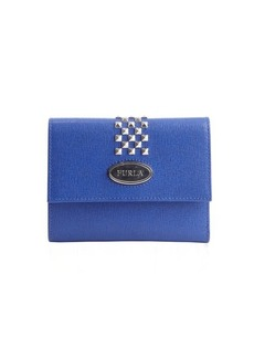 Furla ocean blue leather 'May Classic' logo imprinted studded detail french wallet