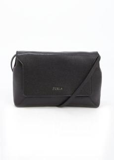 Furla onyx black leather 'Glam' logo imprinted small crossbody bag