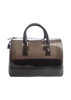 Furla onyx black rubber studded leather trim 'Candy' satchel