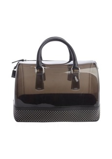 Furla onyx black rubber studded leather trim 'Candy' satchel