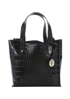 Furla onyx croc embossed leather small 'Musa' tote