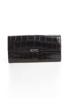 Furla onyx embossed leather logo engraved detail continental wallet