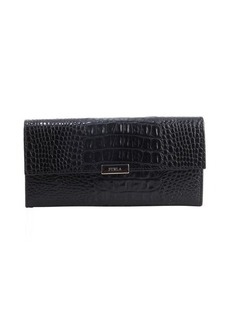 Furla onyx embossed leather logo plaque continental wallet