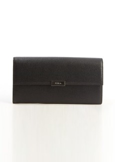 Furla onyx leather engraved logo detail continental wallet