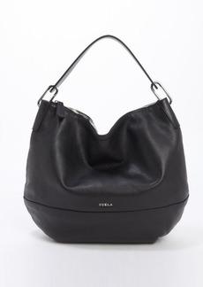 Furla onyx leather 'Manola' medium hobo bag