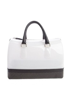 Furla opaline and onyx black rubber studded leather trim 'Candy' satchel