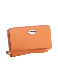 Furla orange leather zip around wristlet continental wallet