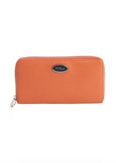 Furla orange leather ziparound continental wallet