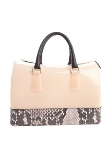 Furla orchidea and black rubber snakeskin accented 'Candy' bag