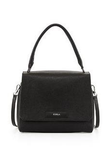Furla Patty Medium Leather Shoulder Bag, Taupe/Marble