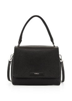 Furla Patty Medium Leather Shoulder Bag, Taupe/Marble
