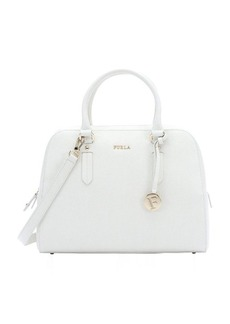 Furla petal white crosshatched leather 'Elena' medium satchel