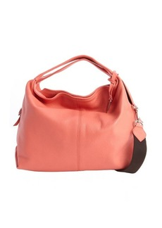 Furla pink ostrich embossed leather 'Elisabeth' hobo