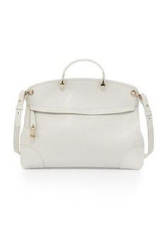 Furla Piper Large Leather Satchel Bag, Petalo (White)