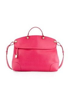 Furla Piper Large Leather Satchel Bag, Pink Gloss