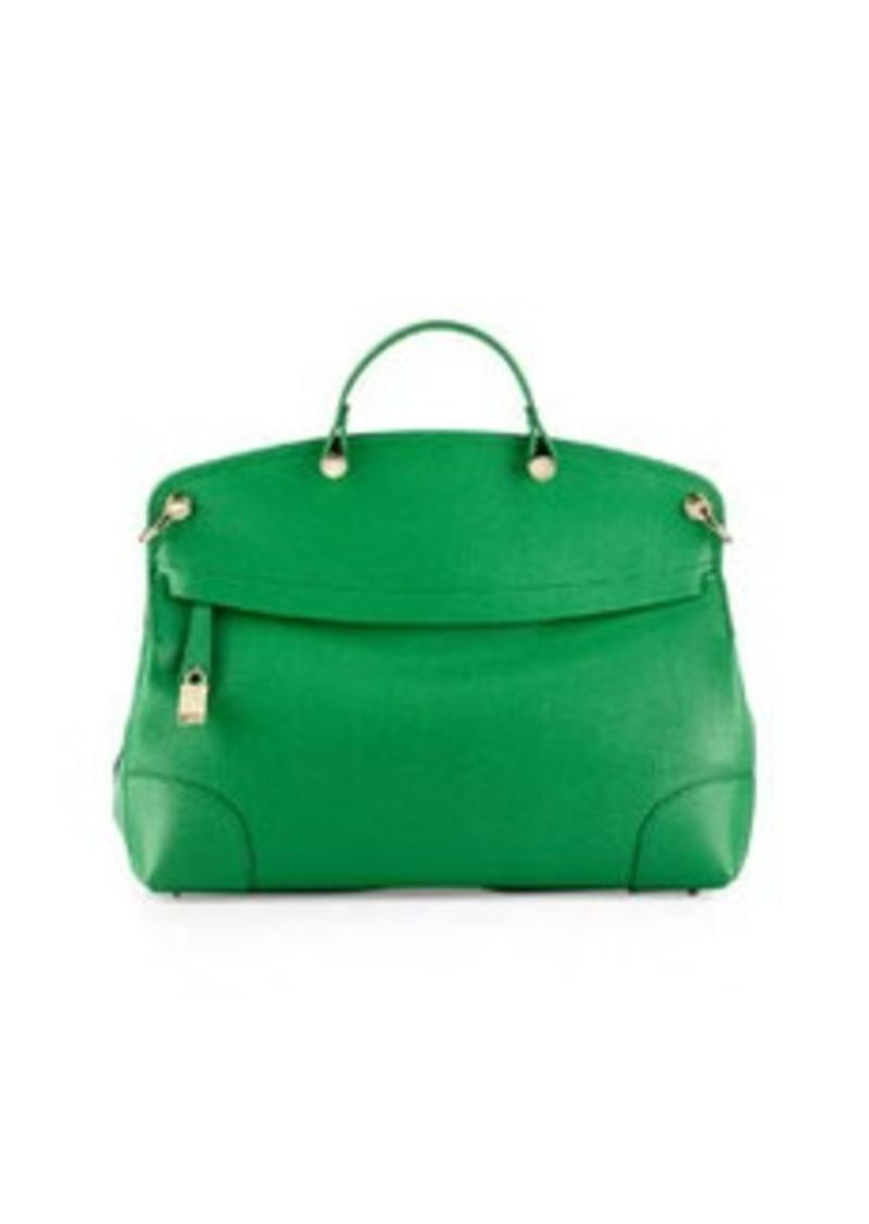 furla furla piper large saffiano leather tote bag emerald handbags shop it to me. Black Bedroom Furniture Sets. Home Design Ideas