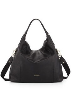Furla Raffaella Medium Leather Hobo Bag, Onyx