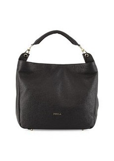 Furla Raffaella Pebbled Leather Hobo Bag, Onyx