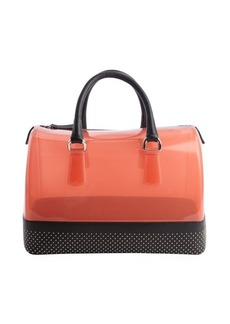Furla red and onyx black rubber studded leather trimmed 'Candy' satchel