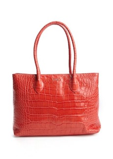 Furla red croc-embossed leather 'Martha M' top handle tote