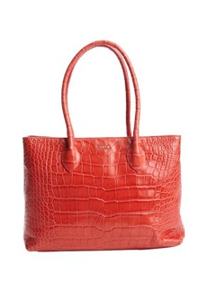 Furla red embossed leather 'Martha M' top handle tote