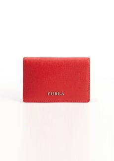 Furla red leather logo imprinted card case