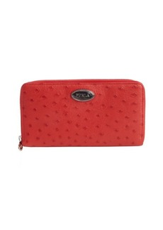 Furla red ostrich embossed leather continental wallet