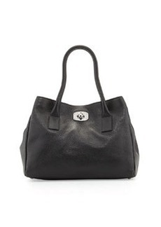 Furla Small Appa Pebbled Turn-Lock Tote Bag, Onyx