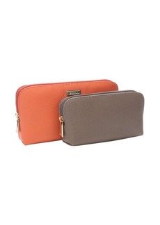Furla tangerine and brown leather two-in-one cosmetic zip pouch