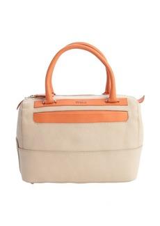 Furla taupe and orange leather 'Laila' medium satchel
