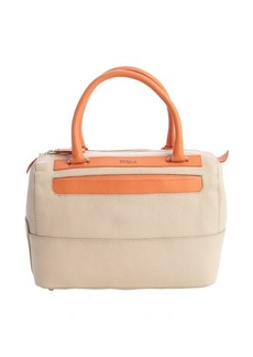Furla taupe and orange leather 'Laila' medium satchel