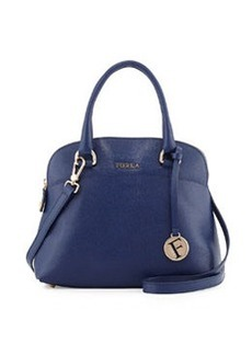 Furla Victoria Leather Dome Satchel Bag, Navy