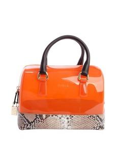 Furla vitamin orange and snake embossed 'Candy' rubber gel handbag