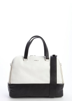 Furla white and black leather 'Amalfi L Dome' bag