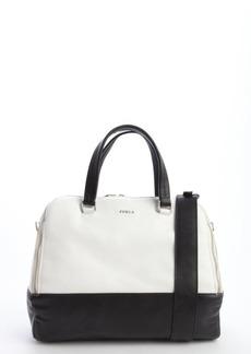 Furla white and black leather 'Amalfi L Dome' bag
